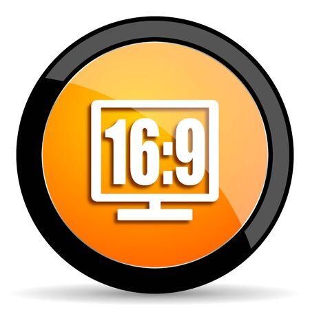 16 9 display: 16 9 display orange icon