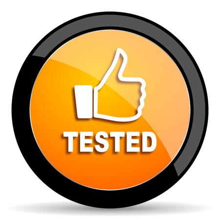 tested: tested orange icon Stock Photo