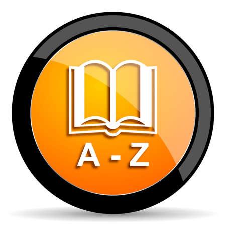 dictionary: dictionary orange icon Stock Photo