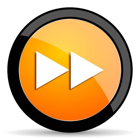 rewind: rewind orange icon Stock Photo