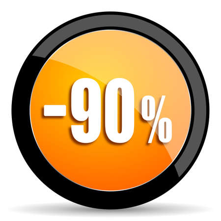 90: 90 percent sale retail orange icon