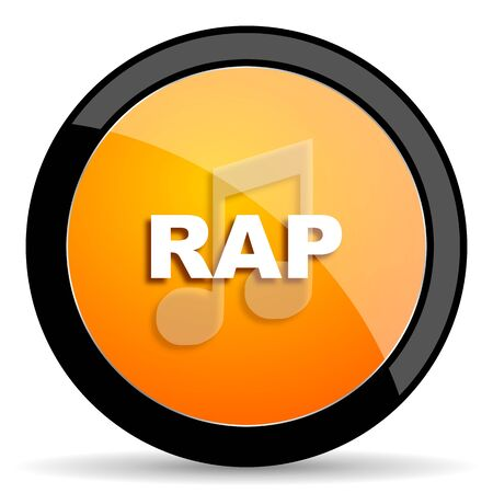 rap music: rap music orange icon Stock Photo