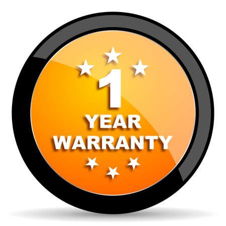 1 year: warranty guarantee 1 year orange icon