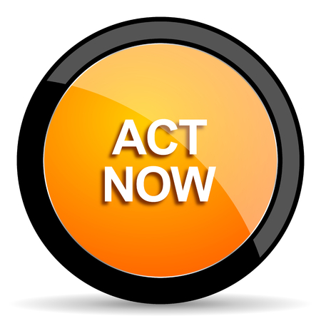 act now orange icon Stock Photo