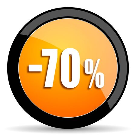 70: 70 percent sale retail orange icon