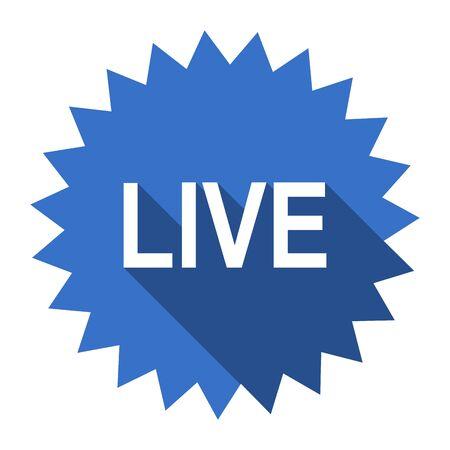 web cast: live blue flat icon