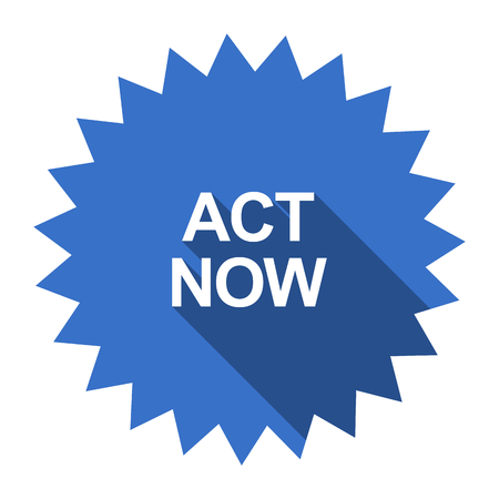 act: act now blue flat icon