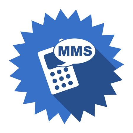 mms: mms blue flat icon