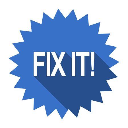 it: fix it blue flat icon Stock Photo