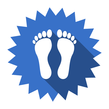 toe tag: foot blue flat icon