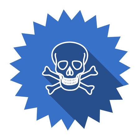 pirating: skull blue flat icon Stock Photo