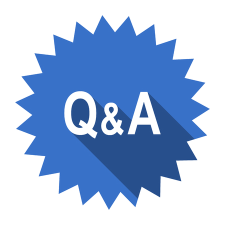 question and answer: question answer blue flat icon