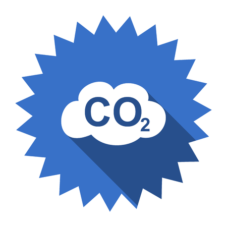 dioxide: carbon dioxide blue flat icon