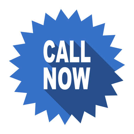 call us: call now blue flat icon