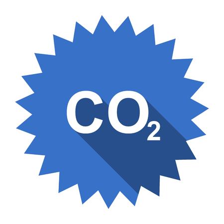 dioxido de carbono: el dióxido de carbono azul plana icono Foto de archivo
