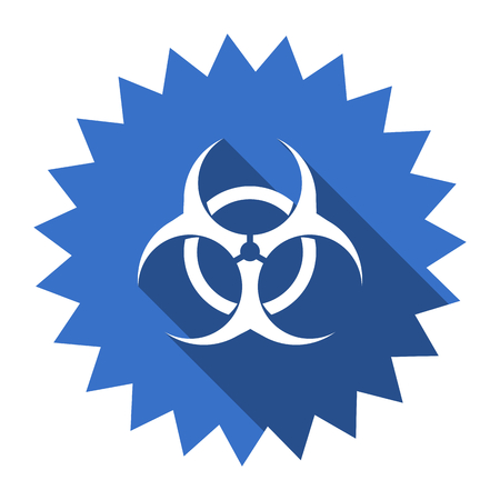 bacterioa: biohazard blue flat icon Stock Photo