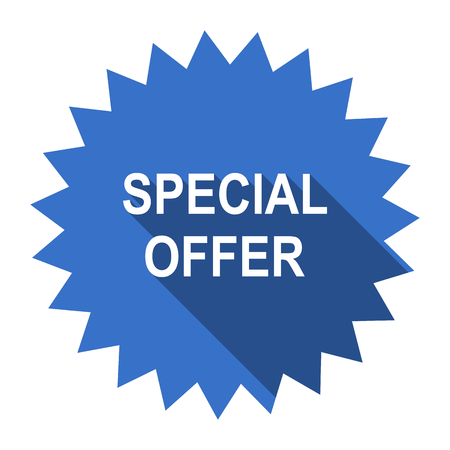 special sale: special offer blue flat icon