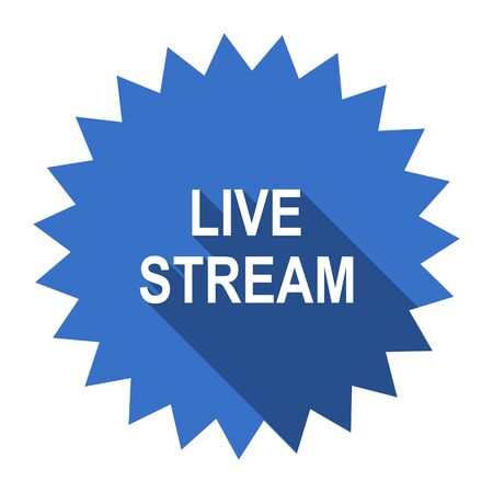 news cast: live stream blue flat icon