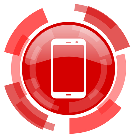 technological and communication: smartphone red glossy web icon