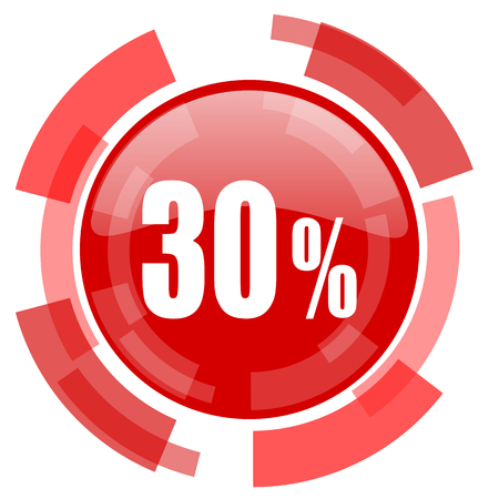 the 30: 30 percent red glossy web icon