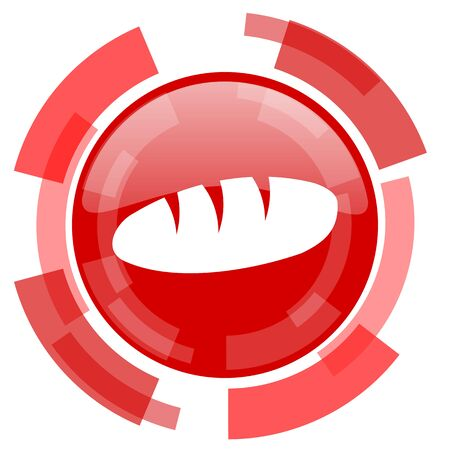 crusty: bread red glossy web icon