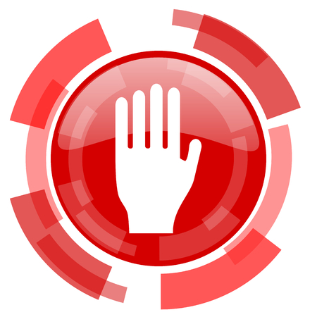 the coachman: stop red glossy web icon Stock Photo