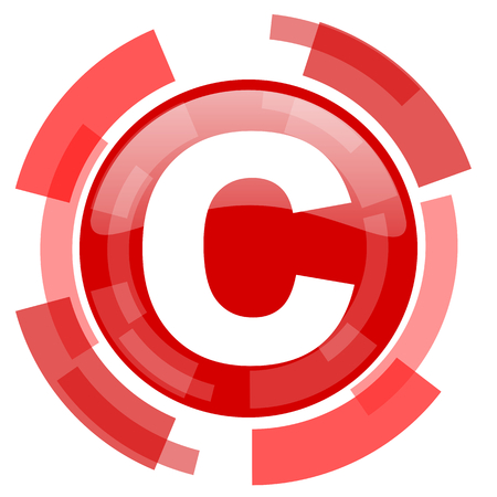 copyright: copyright red glossy web icon