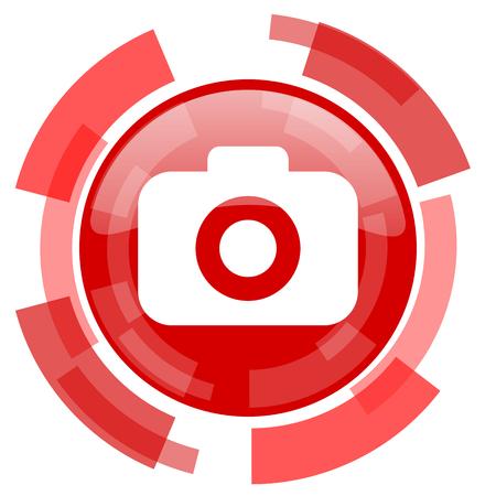 picto: photo camera red glossy web icon