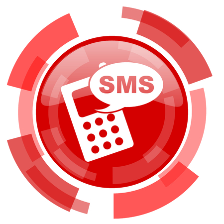 sms: sms red glossy web icon