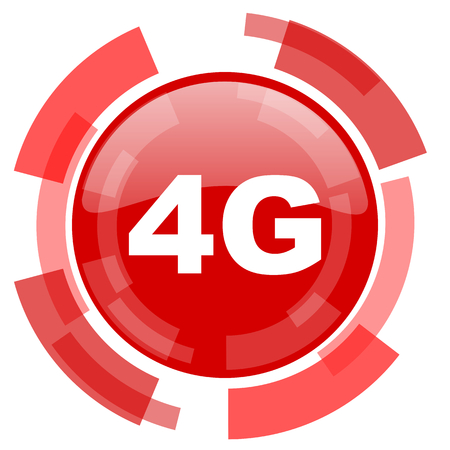 4g: 4g red glossy web icon Stock Photo