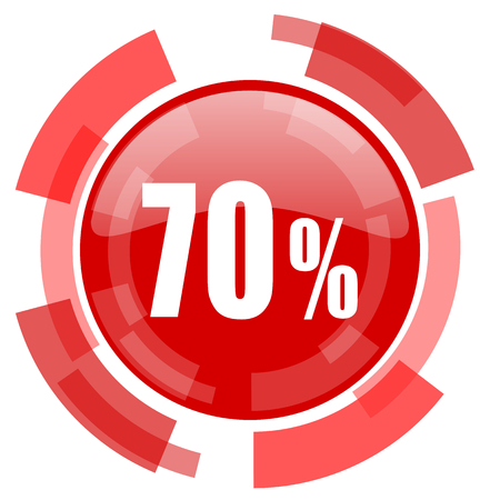70: 70 percent red glossy web icon