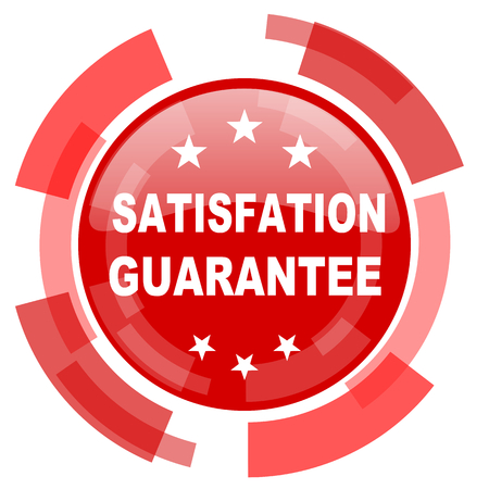 satisfaction guarantee: satisfaction guarantee red glossy web icon