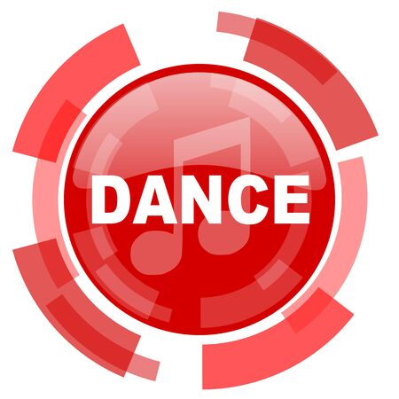 live stream radio: dance music red glossy web icon