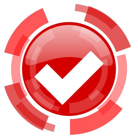 approval button: accept red glossy web icon