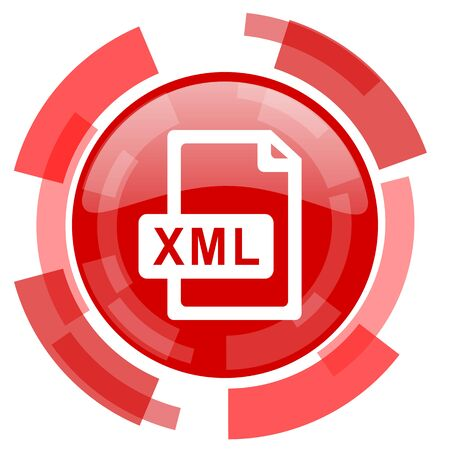 xml: xml file red glossy web icon Stock Photo