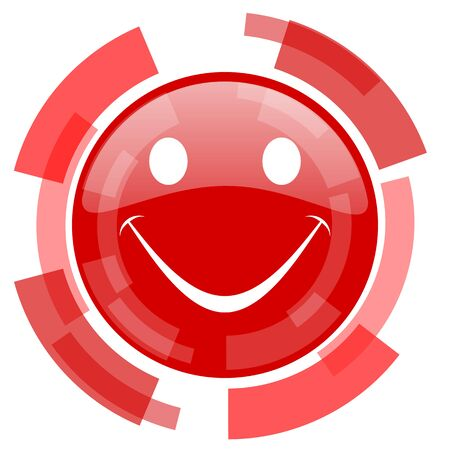 smiling face: smile red glossy web icon Stock Photo