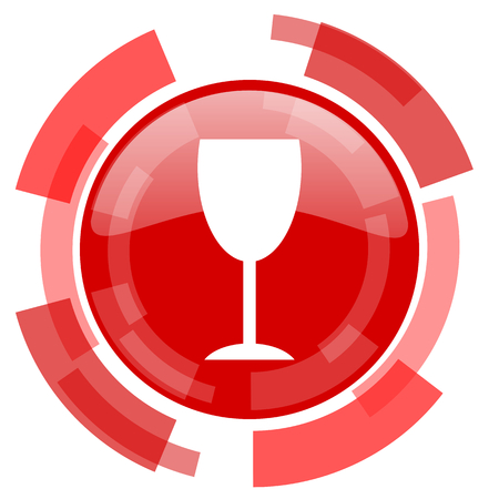 champain: alcohol  red glossy web icon