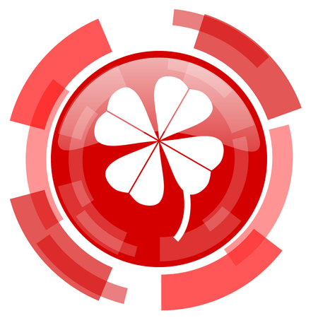 button grass: four-leaf clover red glossy web icon