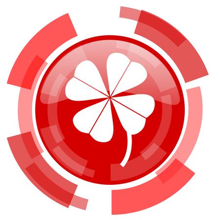 four fourleaf: four-leaf clover red glossy web icon