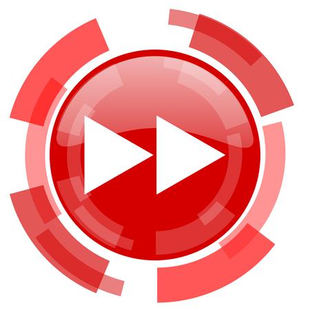 rewind icon: rewind red glossy web icon Stock Photo
