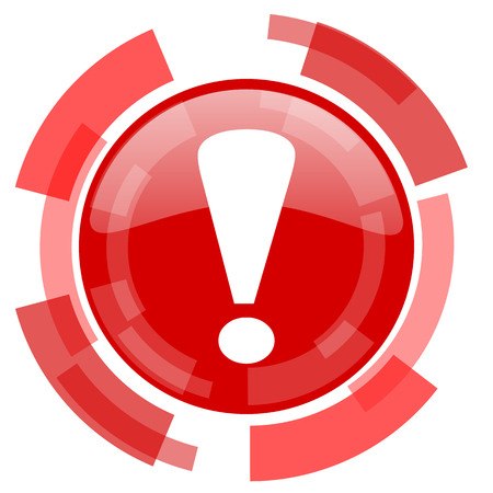 security symbol: exclamation sign red glossy web icon