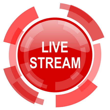 live stream red glossy web icon Stock Photo