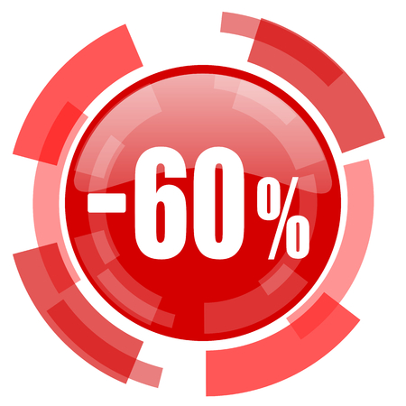 60: 60 percent sale retail red glossy web icon