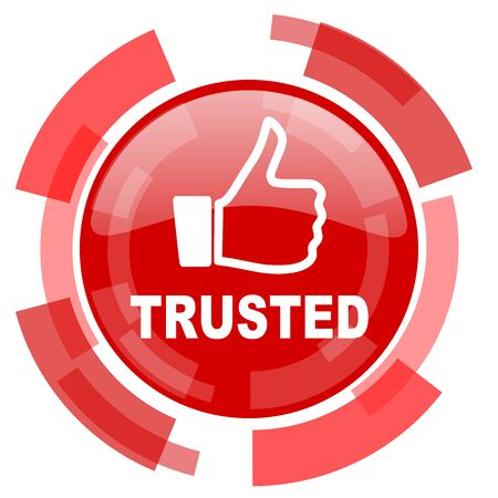 trusted: trusted red glossy web icon Stock Photo