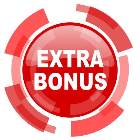 discounting: extra bonus red glossy web icon Stock Photo