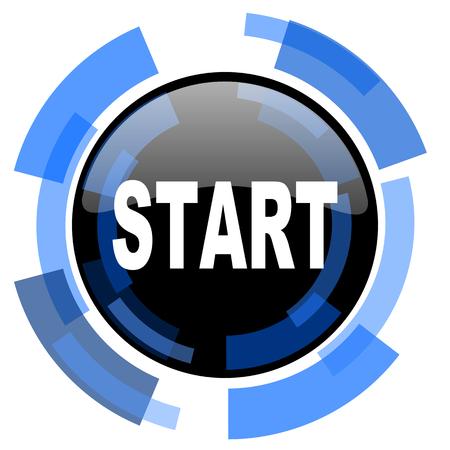 blue button: start black blue glossy web icon