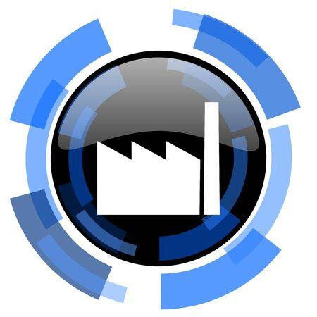 industrialist: factory black blue glossy web icon