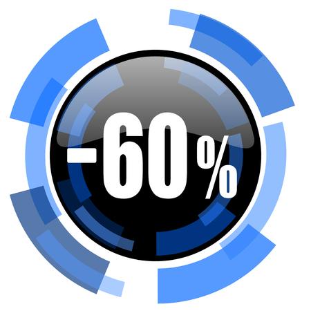 60: 60 percent sale retail black blue glossy web icon