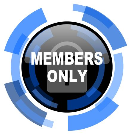 members only: members only black blue glossy web icon Stock Photo