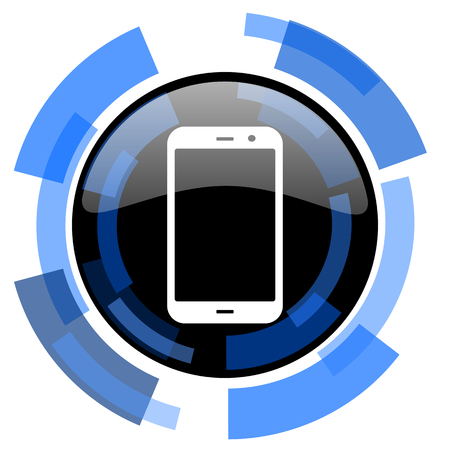 technological and communication: smartphone black blue glossy web icon Stock Photo